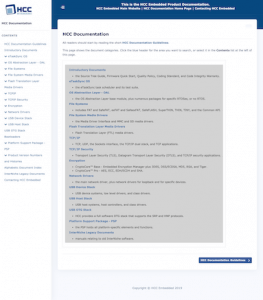 Screenshot of HCC documentation site