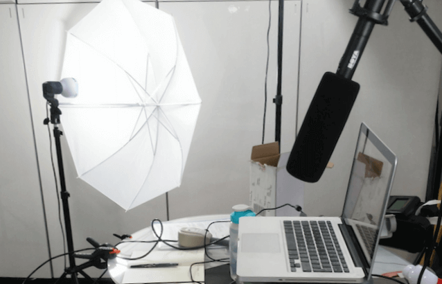 image of live online training set up with lights and laptop