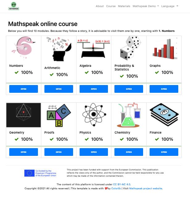Mathspeak platform home page