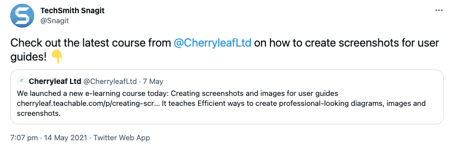 Tweet from Techsmith highlighting the course